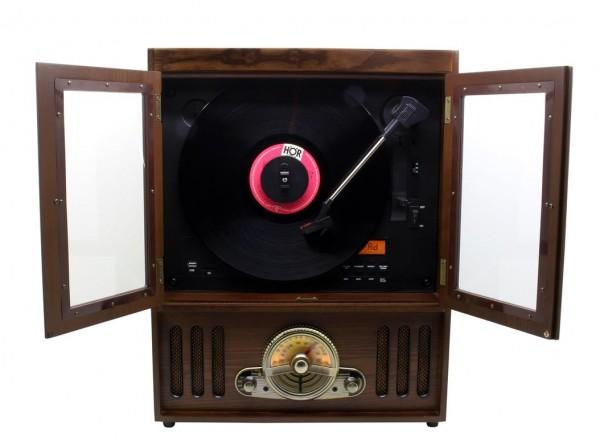 Nostalgie Stereo Musikcenter mit Vertikal Plattenspieler und CD/MP3