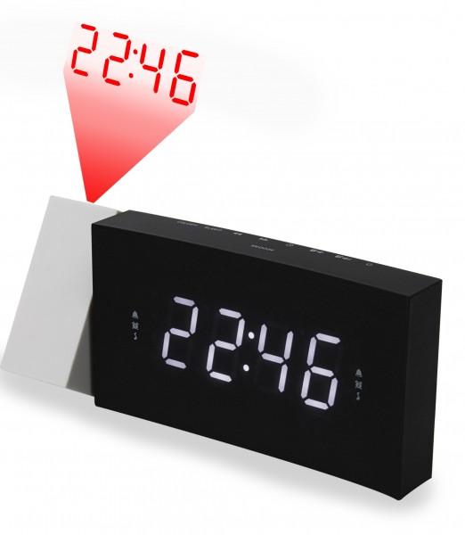 Jumbo LED UKW-PLL Uhrenradio mit Projektion und USB-Ladebuchse