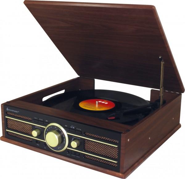 Nostalgie Stereo Plattenspieler mit UKW Radio, USB und Encoding