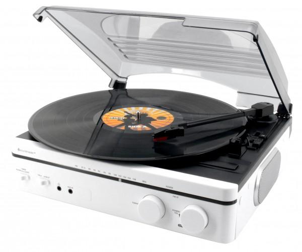Retro Plattenspieler mit UKW Radio und eingebaute Stereolautsprecher