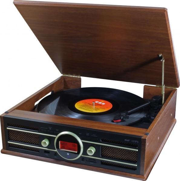 Nostalgie Plattenspieler mit DAB+/UKW Radio, USB und Encoding