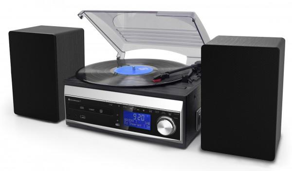Klassischer DAB+/UKW Stereo-Musikcenter mit CD, Plattenspieler, Kassettenspieler, USB/SD und Encodin