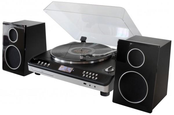 Retro HiFi Anlage mit Plattenspieler, DAB+/UKW, CD/MP3 und USB