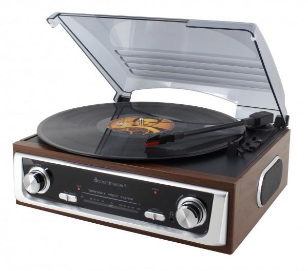 Nostalgie Plattenspieler mit Radio und eingebauten Stereolautsprechern