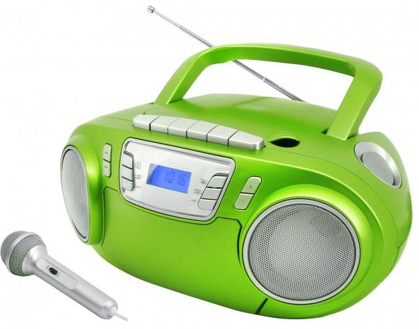 CD-Radiokassettenrekorder mit externem Mikrofon, USB und Lichteffekt