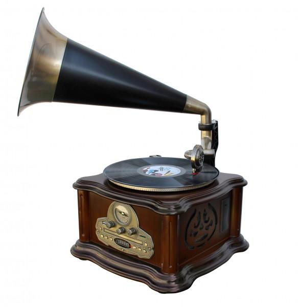 Grammophon-Stereo-Anlage mit Schallplatte, UKW-Radio, CD/MP3, USB und Bluetooth®